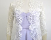 Katie scalloped floral french lace wedding jacket bridal ivory
