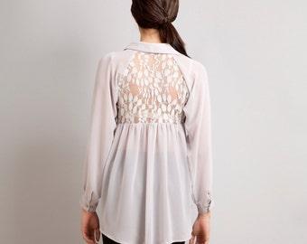 Love Lace back raglan button down shirt top grey S M