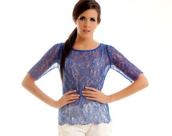 READY TO SHIP Swan lace scalloped blouse shirt top klein blue S M custom