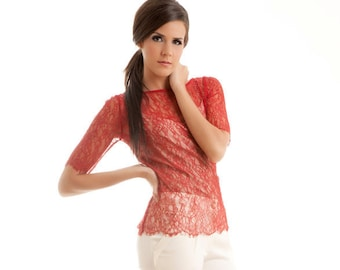 READY TO SHIP Swan lace scalloped blouse shirt top red S M custom