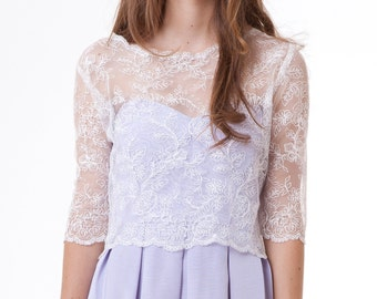 Chloe scalloped floral lace top wedding bridal off white ivory S M L CUSTOM
