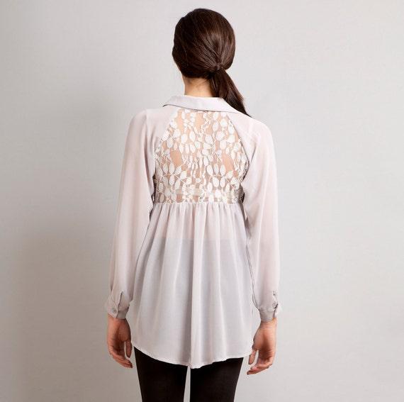READY TO SHIP Love Lace back raglan button down shirt top grey S M