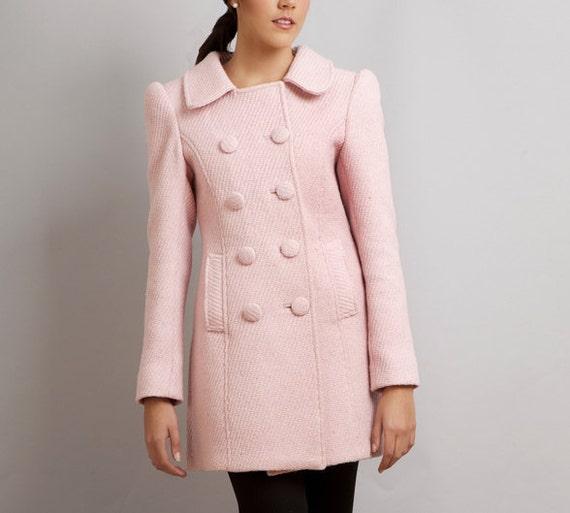 Last one - BLACK SWAN Nina pink coat - wool winter Limited Edition - Custom order