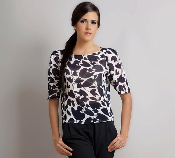 SALE - Ready to ship Amy Floral Leaf Print Chiffon Puff Sleeve Blouse shirt top S