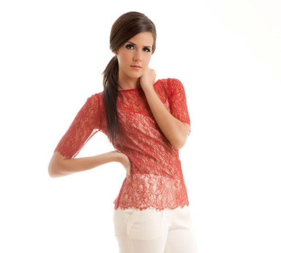 Chantilly lace scalloped blouse shirt top red S M
