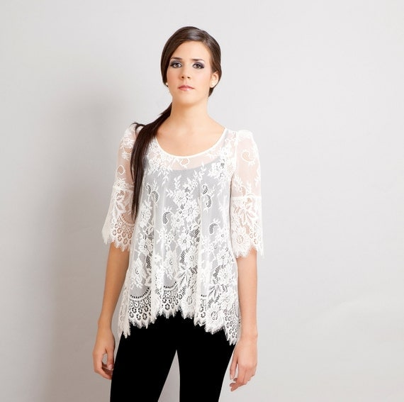 Ready to ship - Black Swan french lace scalloped tunic ivory XS