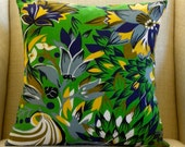 Pillow Cover — Kelly Green Tropical from Vintage Fabric - 18 x 18