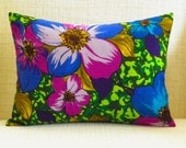 Throw Pillow Cover - Vintage Vibrant Purple and Royal Blue Floral - 12 x 16