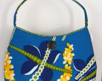 Vintage Fabric Hobo/Tote - Vintage Blue & Yellow Hawaiian Lei