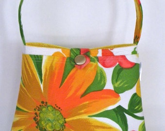 Shoulder Bag - Vintage Yellow Daisy Barkcloth