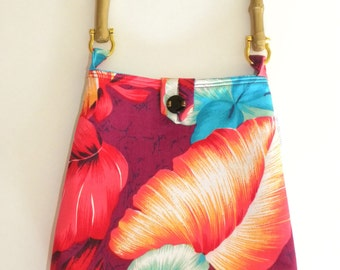 Reversible Evening Out Bag - Vintage Hawaiian Maroon and Turquoise Floral