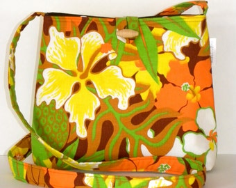 Messenger Bag - Vintage Lemon, Lime and Orange Tropical
