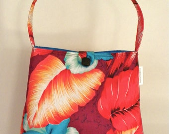 Shoulder Bag - Vintage Red, Maroon and Turquoise Hawaiian