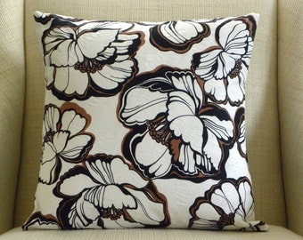 Pillow Cover - Vintage Black and White Giant Flowers - 18 x 18