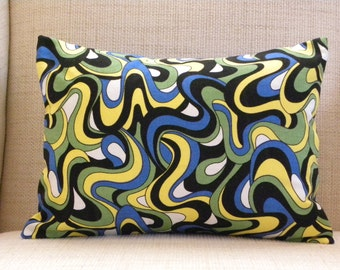 Throw Pillow Cover - Op Art Swirl - Black, White, Royal Blue - 12 x 16