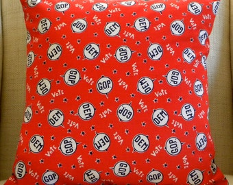 Pillow Cover - Vintage Red, White and Blue Voting Fabric - 18 x 18