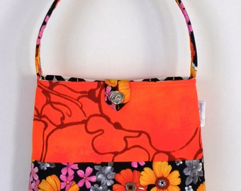 Shoulder Bag - Vintage Black and Orange Floral Patchwork