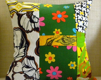 16 x 16 Pillow Cover - Vintage Tropical, Floral, Butterfly Patchwork - Black, White Green and Yellow