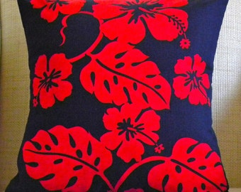 Tropical Pillow Cover - Vintage Red and Navy Hawaiian Floral - 16 x 16