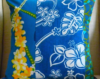 Pillow Cover - Vintage Floral Blue Hawaiian Patchwork - 18 x 18