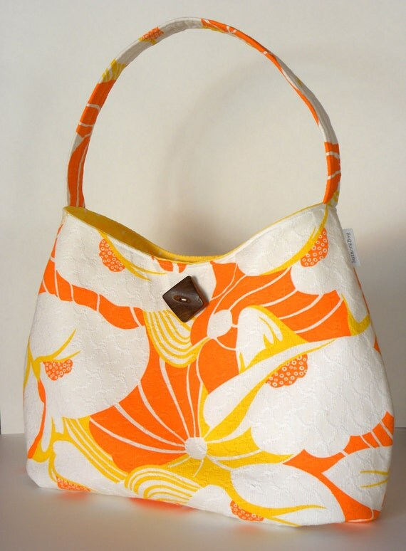 Vintage Fabric Hobo/Tote - Orange & White Calla Lily