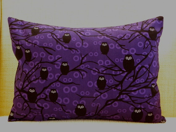 Throw Pillow Cover - Eerie Purple Owls - Deep Purple, Black and White - 12 x 16