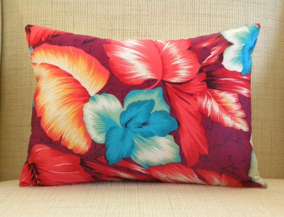CUSTOM LISTING for Luanne - (Seven) 12 x 16 Pillow Covers - Vintage Red, Maroon & Turquoise Hawaiian Fabric
