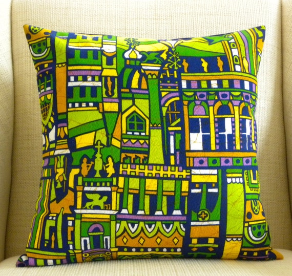 Pillow Cover - Vintage Barkcloth - Medieval Cathedrals, Cities and Turrets - 18 x 18