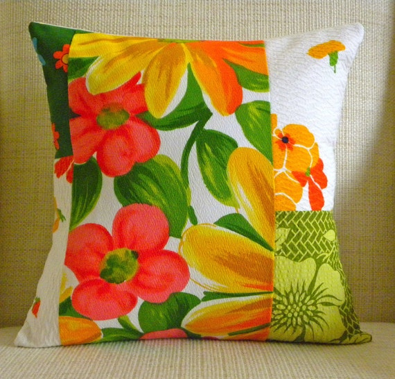 16 x 16 Pillow Cover - Vintage Tropical, Floral Patchwork - White, Yellow, Green & Pink