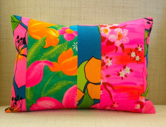12 x 16 Pillow Cover - Vintage Floral Hawaiian Patchwork - Pink, Blue & Green