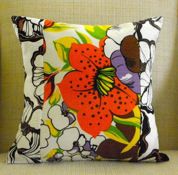 16 x 16 Pillow Cover - Vintage Mod Floral Patchwork - White, Black, Brown, Orange, Yellow & Green