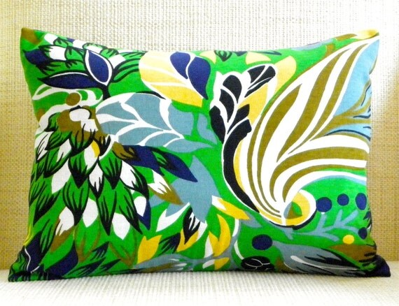 12 x 16 Pillow Cover - Vintage Kelly Green & White Tropical - Navy, Grey, Butter Yellow, Brown