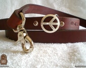 Leather leash with Peace sign