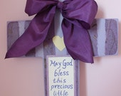 Custom Purple Wooden Cross with ribbon