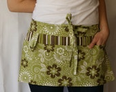 Half Apron with pockets and loop in green, brown and white floral and stripe