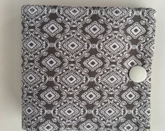 Needle Case with pocket in grey and white geometric pattern-SALE