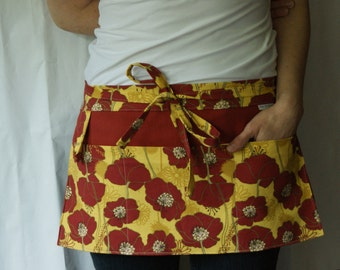 Half Apron with loop and pockets in maroon red and yellow floral pattern