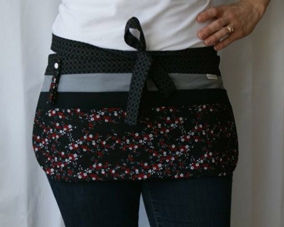 Utility Apron in black, red, white, grey floral with 8 pockets and hook