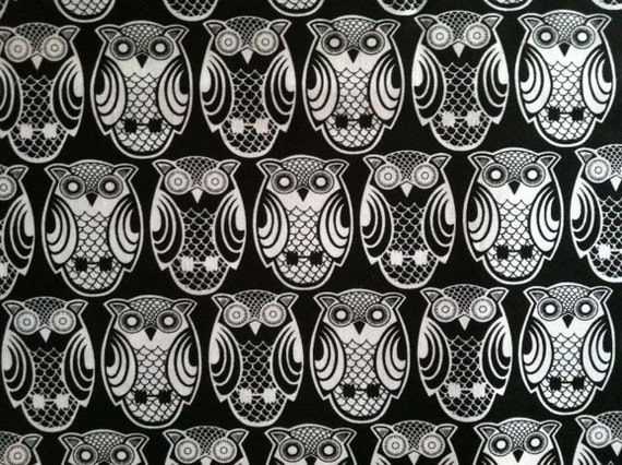 M'Liss Black and White Owls Fabric Two yards