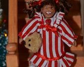 """1/12 Scale Dollhouse Doll - Handmade OOAK Girl - Polymer Clay - Posable - """"Adaline Julie"""" with Teddy Bear"""