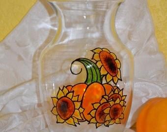 "October Sun 8"" Handpainted Rose Vase"