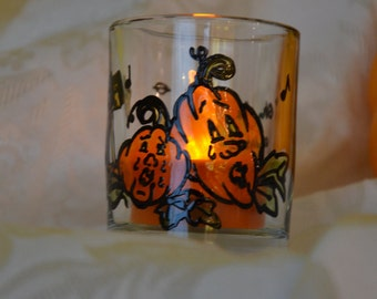 Oh Give Us a Home  2 1/2 inch, Handpainted Votive Candleholder with Character Pumpkins