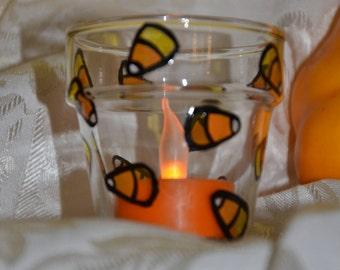 Candy Corn 2 1/12 inch Handpainted Glass Votive Candleholder