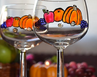 Thanksgiving Glassware - Handpainted Balloon Wine Glass Pair - Autumn Harvest