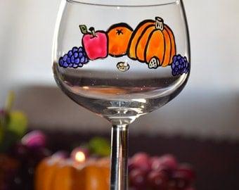 Autumn Harvest Handpainted Balloon Wine Glass