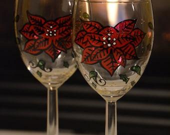 Poinsettia Handpainted Wine Glass Pair