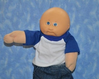 """Cabbage Patch Doll Clothes - for 16"""" - 18"""" Boy Dolls - Blue and White T-Shirt - Handmade"""