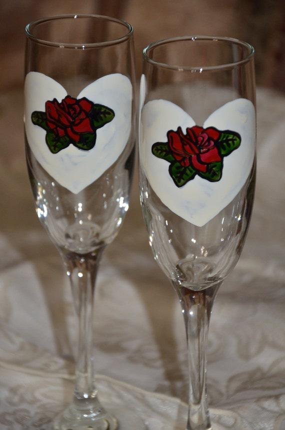 Valentine Heart Rose Handpainted Champagne Glass Pair