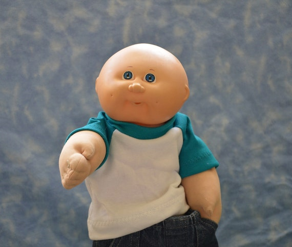 """Cabbage Patch Doll Clothes - for 16"""" - 18"""" Boy Dolls - Teal and White T-Shirt - Handmade"""