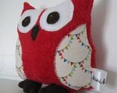 Mini Hoot Hoot Owl Plush Softie Stuffed Animal Toy Red Bunting Minky Gift